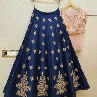 Fantastic Blue & Peach Designer Silk With Embroidered Work Lehenga Choli Design Online