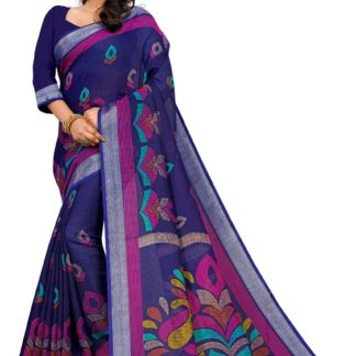 Captivating Purple Colored Linen Printed designer fancy saree online