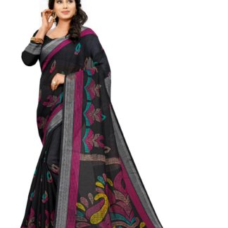 Bewitching Black Colored Linen Printed designer fancy saree online
