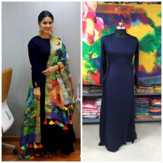 Magnificent Navy Blue Rayon Party Wear Long Frock Gown Dress