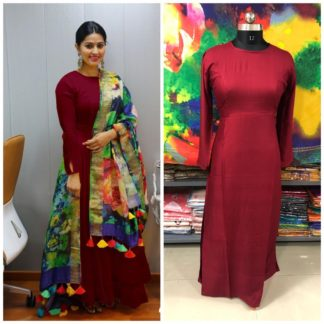 Captivating Maroon Rayon Party Wear Long Frock Gown Dress