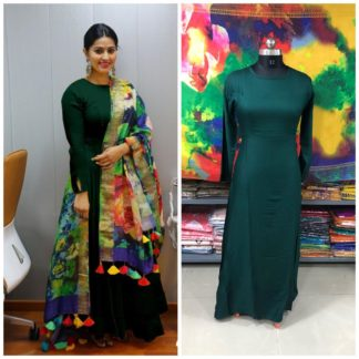 Bewitching Dark Green Rayon Long Frock Gown Dress