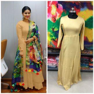 Gorgeous Cream Rayon Plain Party Wear Long Frock Gown Dress