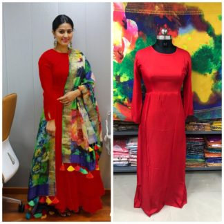 Amazeballs Red Plain Rayon Party Wear Long Frock Gown Dress