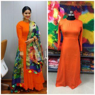 Knockout Orange Plain Rayon Party Wear Long Frock Gown Dress