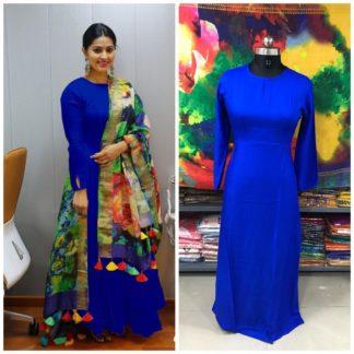 Smashing Royal Blue Plain Rayon Party Wear Long Frock Gown Dress