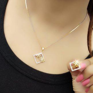 Beautiful White Diamond Gold Plated Necklace Design Set