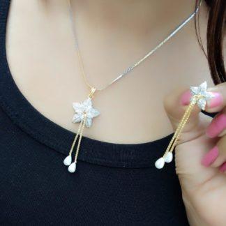 Sensational Gold Plated White Diamond Necklace Design Set