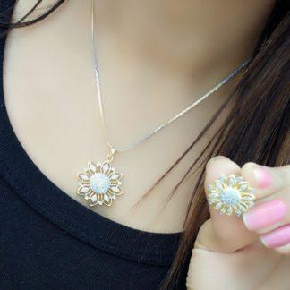 Ravishing White Diamond Imitation Gold Plated Necklace Design Set