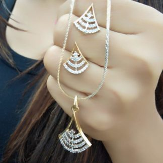 Devastating White Diamond Gold Plated Imitation Necklace Design Set