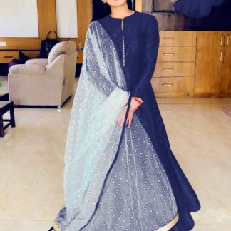 Comely Navy Blue Banglori Silk With Lining Gown