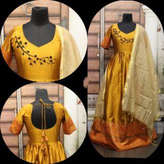 Mind-Blowing Yellow Cotton Sartin With Gotta Zari Border Gown