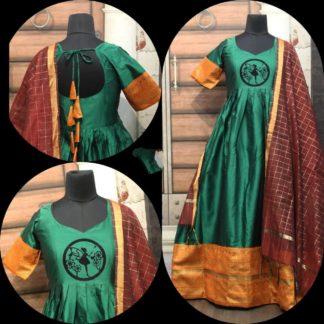 Tremendous Green Cotton Sartin With Zari Gotta Border Gown