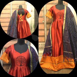 Wondrous Orange Cotton Sartin With Zari Gotta Gown