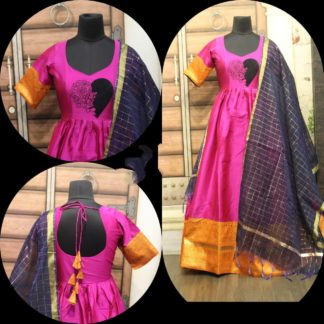 Beautiful Rani Colored Cotton Sartin With Zari Gotta Border Gown