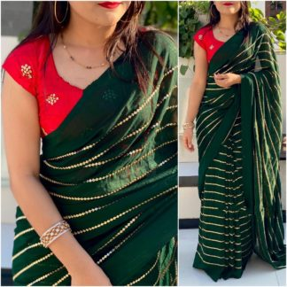 Remarkable Red & Dark Green Georgette With Embroidered Work Saree