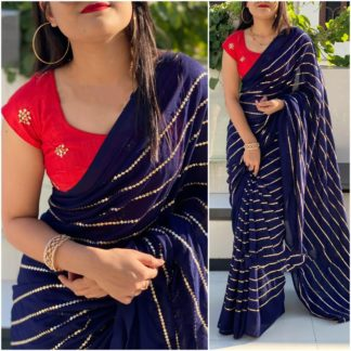 Staggering Red & Royal Blue Georgette With Embroidered Work Saree