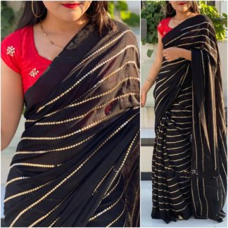 Astonishing Red & Black Georgette With Embroidered Work Saree