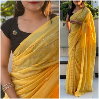 Phenomenal Yellow & Black Georgette With Embroidered Work Saree