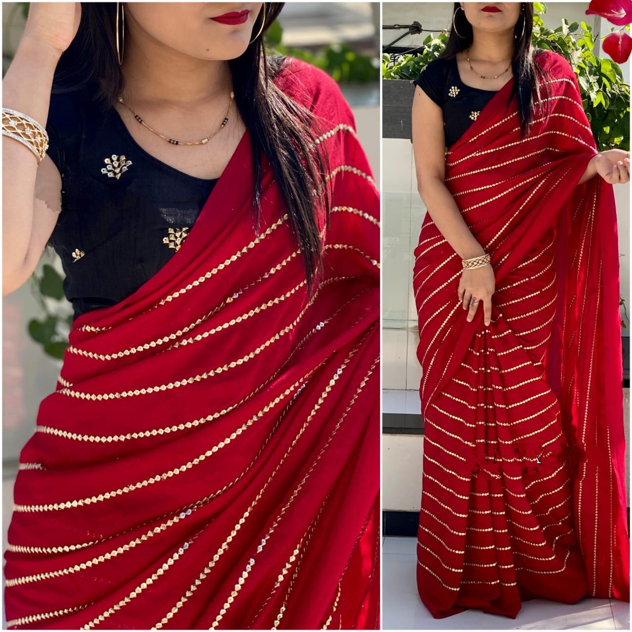 Comely Dark Blue & Red Georgette With Embroidered Work Designer Saree Online