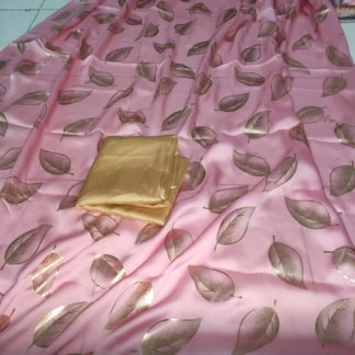 Fabulous Baby pink Imported Silk Foil Print Designer Saree Online with plain blouse