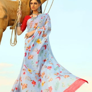 Ravishing Light Blue Pure Cotton Linen Printed Designer Fancy Saree Online