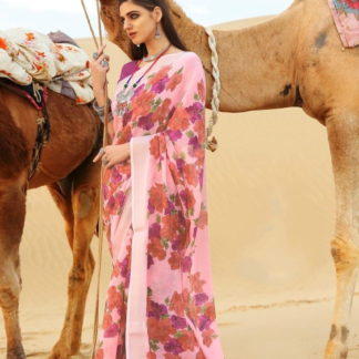 Devastating Pink Pure Linen Cotton Printed Designer Fancy Saree Online