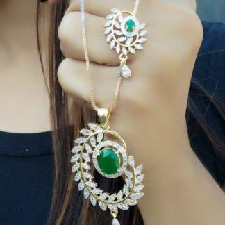 Amazeballs Green Diamond Artificial Golden Necklace Set Online