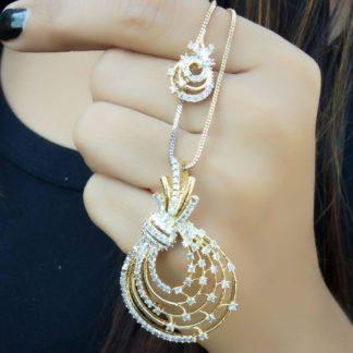 Knockout White American Diamond Golden Imitation Necklace Set Online