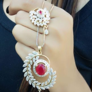 Smashing Red Diamond Golden Artificial Necklace Set Online