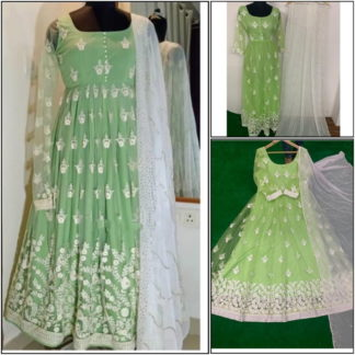 Breathtaking Pista Net With Chine Stitch Work Ready Made Party Wear Gown