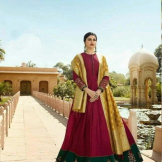 Phenomenal Maroon Cotton Satin Silk With Embroidered Work Gown