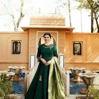 Imposing Dark Green Cotton Satin Silk With Embroidered Work Gown