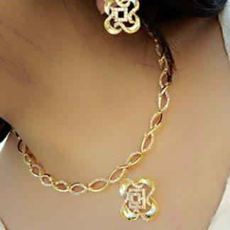 Splendid Golden American Diamond Sleek Imitation Necklace Set Online