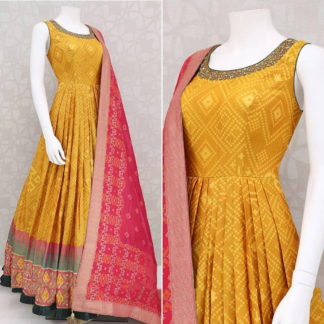 Glorious Mustard Designer Crap Zari Embroidered Printed Gown