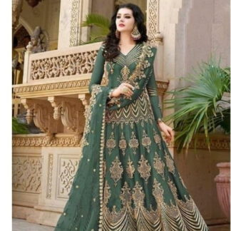 Pretty Green Net With Diamond Embroidered Work Anarkali New Salwar suit design online