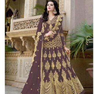 Sensational Brown Net With Embroidered Diamond Work Anarkali New Salwar suit design online