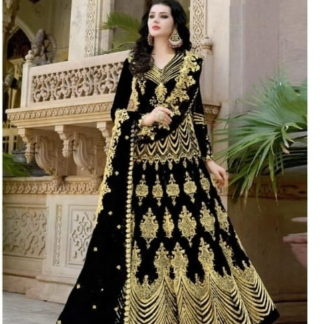 Radiant Black Net With Embroidered Diamond Work Anarkali New Salwar suit design online