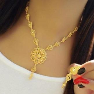 Gorgeous Golden Colored Imitation Necklace Set Design