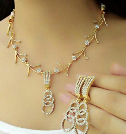 Fab White Diamond Golden Imitation Necklace Set Design