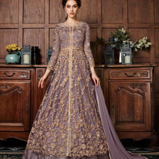 Phenomenal English Colored Net Embroidered Work Salwar Suit