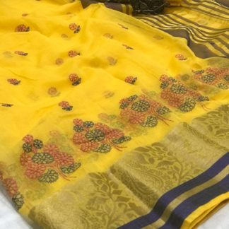 Pretty Yellow Cotton With Kashmiri Thread Work Designer Saree