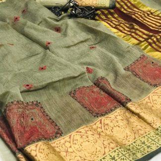 Sensational Mehendi Green Cotton With Kashmiri Thread Work Designer Saree