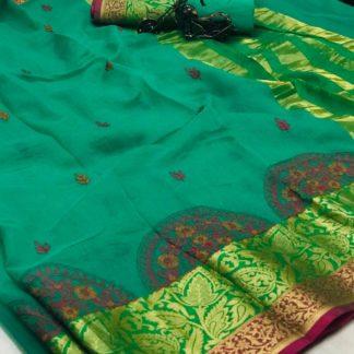 Radiant Rama Cotton With Thread Kashmiri Work All Over Designer Saree