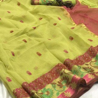 Ravishing Light Green Cotton Thread Kashmiri Work Designer Saree