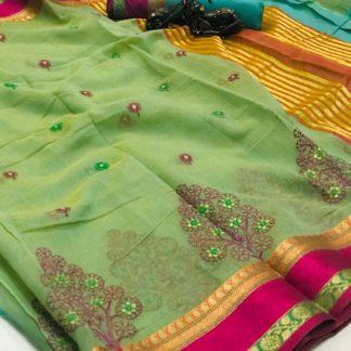 Striking Green Cotton With Thread Kashmiri Work Designer Saree