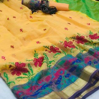 Dazzling Light Yellow Cotton With Kashmiri Thread Work Designer Saree