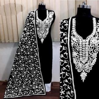 Wonderful Black Silk With Aari Work Salwar Suit