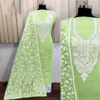 Glorious Light Green Silk With Aari Work Salwar Suit