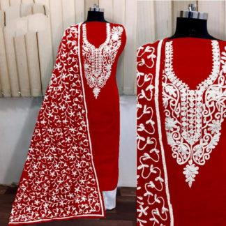 Captivating Red Silk With Aari Work Salwar Suit